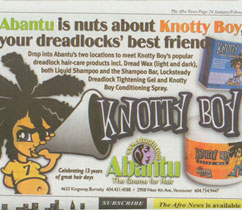 Knotty Boy Ad in Afro News
