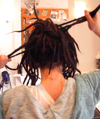 Dreads tied in a knot