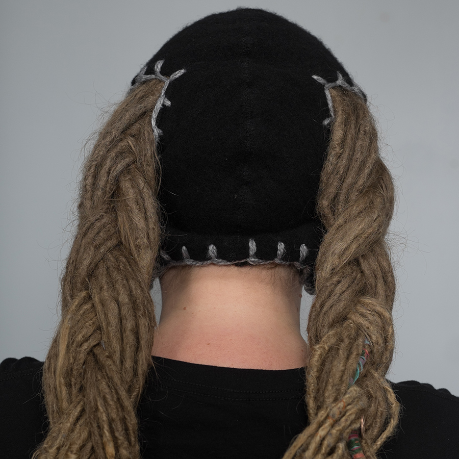 dreadlock pigtail hat black with grey stitching