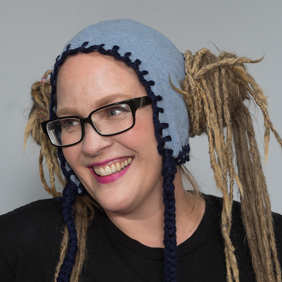 dreadlock pigtail hat blue with dark blue stitching