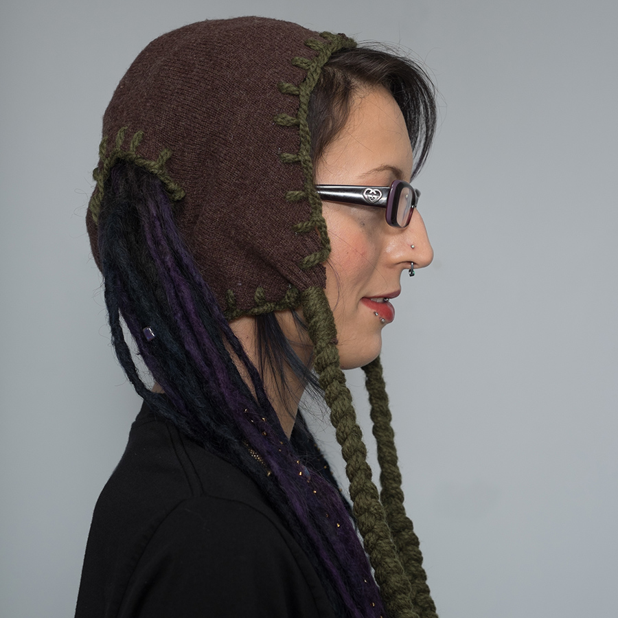 dreadlock pigtail hat brown with green stitching