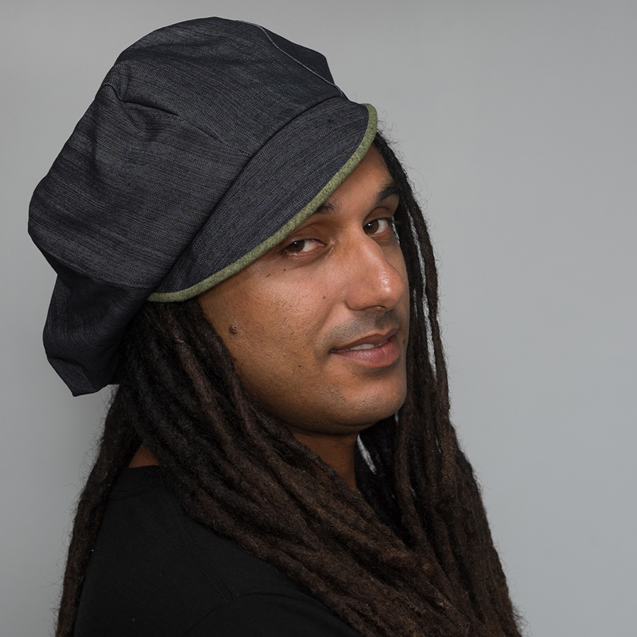 handmade reversible recycled dreadlock poorboy hat denim blue and green