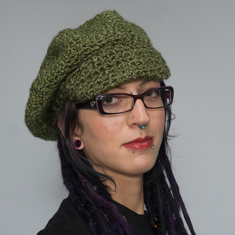 dreadlock tam with brim olive green