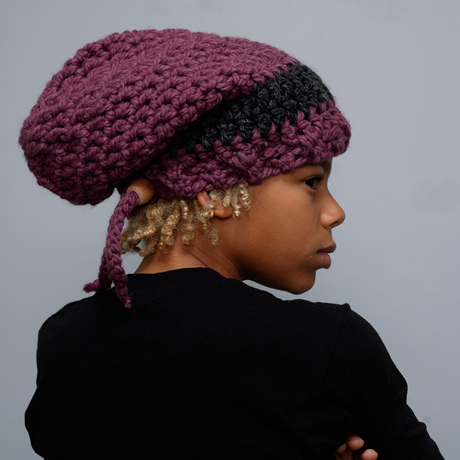 dreadlock woolie hat charcoal and fig