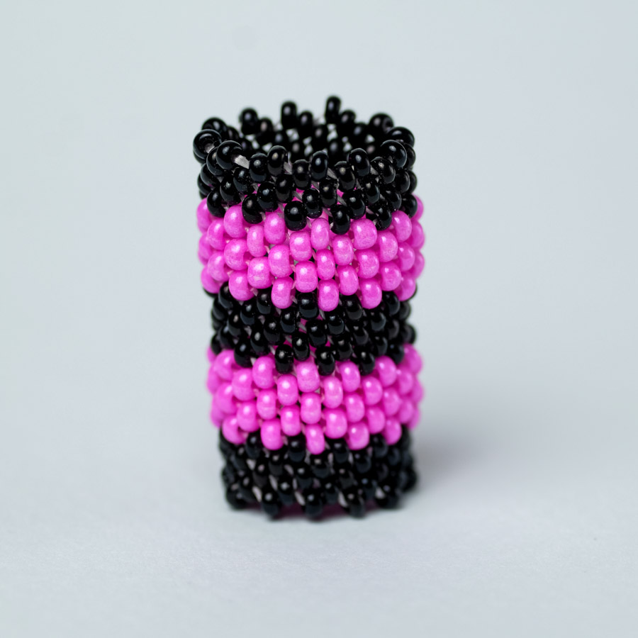 handmade dreadlock sleeve black and pink striped