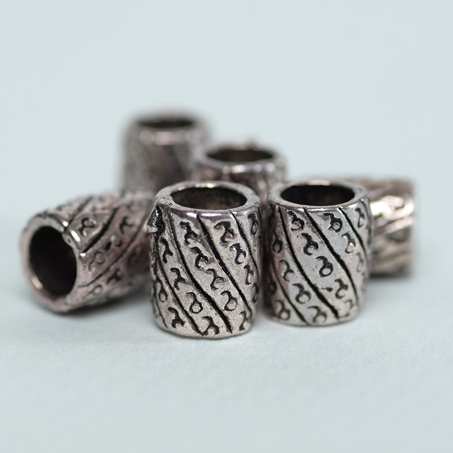 silver coloured dreadlock beads 6 pack