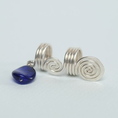 Silver Coil with Blue Bead
