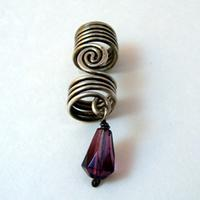 Silver Single Spiral Coil with Bead